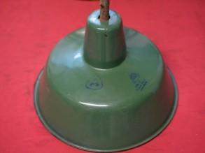 Puntgave geëmailleerde lampenkap Groen/Wit