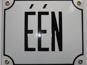 Emaille huisnummer in Letters één t/m elf