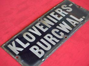 Kobaltblauw straatnaam: Kloveniersburgwal.