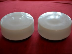6 mooie opaal glazen Jaren'50 plafonnieres